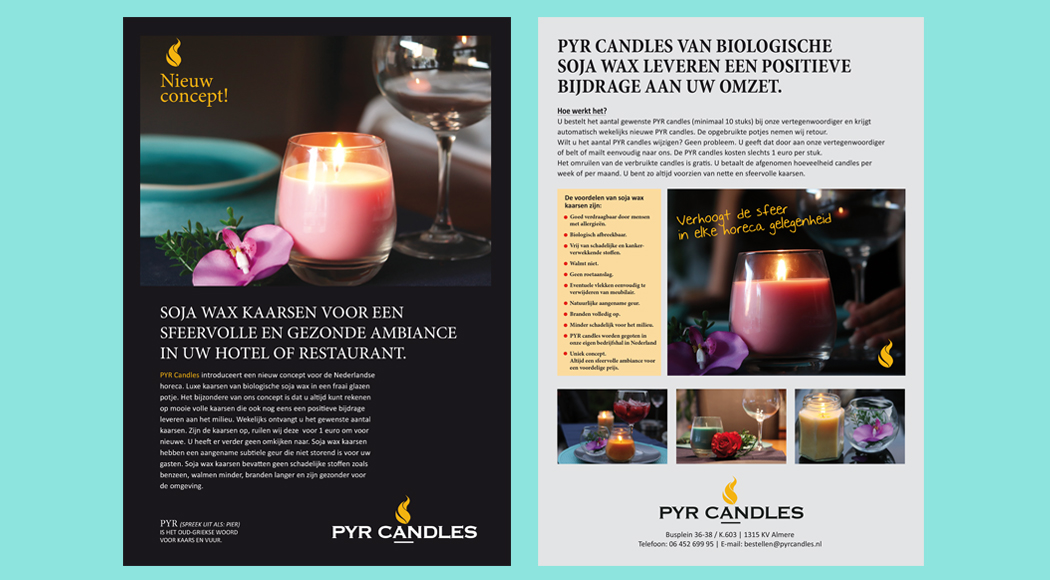leaflet pyr candles